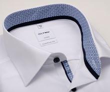 Koszula Olymp Luxor Comfort Fit – biała z niebiesko-bialą wewnętrzną stójką i mankietem