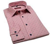 Koszula Marvelis Body Fit – w czerwone paski z wyszytym niebiesko-białym wzorem
