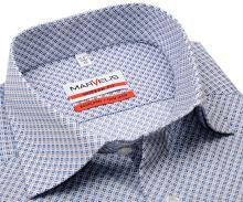 Koszula Marvelis Modern Fit - z niebiesko-brązowym wzorem - krótki rękaw