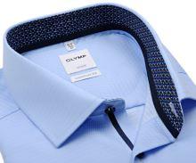 Koszula Olymp Comfort Fit – jasnoniebieska z diagonalną strukturą, wewnętrzną stójką i mankietem