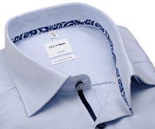 Koszula Olymp Comfort Fit – jasnoniebieska z delikatną strukturą i wewnętrznym mankietem