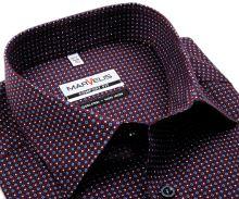 Koszula Marvelis Comfort Fit - granatowa z drobnym czerwono-niebieskim wzorem