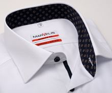 Koszula Marvelis Modern Fit – biała z wyszytym wzorom i wewnętrzną stójką