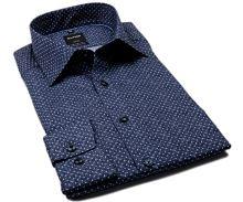 Koszula Olymp Comfort Fit – ciemnoniebieska w białe kropki i delikatną siateczkę