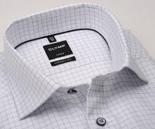 Koszula Olymp Modern Fit – biała z wyszytą niebieską krateczką
