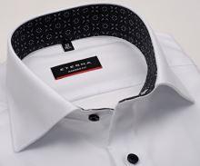 Koszula Eterna Modern Fit Twill - biała luksusowa z szaro-czarną stójką wewnętrzną