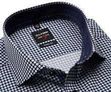 Koszula Olymp Level Five – ciemnoniebieska w niebiesko-biały wzór z wewnętrzną stójką i mankietem