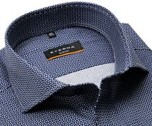 Koszula Eterna Slim Fit Stretch – z czarno-niebiesko-białym wzorem - super długi rękaw