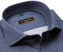 Koszula Eterna Slim Fit Stretch – z czarno-niebiesko-białym wzorem