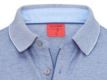 Koszulka polo body fit Olymp Level Five z kołnierzykiem – niebieska w białą siateczkę