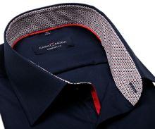 Koszula Casa Moda Comfort Fit – ciemnoniebieska z czerwono-niebieską stójką wewnętrzną i mankietem