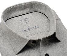 Koszula Olymp Modern Fit 24/Seven – szara elastyczna w jaśniejszą siateczkę
