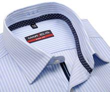 Koszula Marvelis Body Fit – w jasnoniebieskie paski z wewnętrzną plisą - krótki rękaw