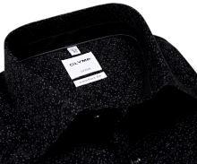 Koszula Olymp Comfort Fit – czarna z szarym wzorem, wewnętrzną stójką i mankietem
