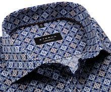 Koszula Eterna Comfort Fit - designerska z biało-niebiesko-brązowymi ornamentami - super długi rękaw