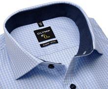 Koszula Olymp Super Slim – jasnoniebieska z geometrycznym wzorem i kołnierzykiem wewnętrznym