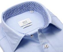 Koszula Eterna Comfort Fit 1863 Super Soft - luksusowa jasnoniebieska z ukośnym wzorem i wewnętrzną stójką