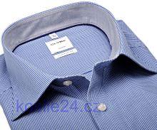 Koszula Olymp Luxor Comfort Fit – w ciemnoniebieską krateczkę - krótki rękaw