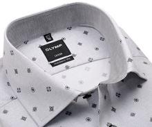 Koszula Olymp Modern Fit – jasnoszara z siateczką, czarnymi ornamentami i wewnętrzną stójką