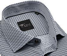 Koszula Venti Slim Fit – o szaro-czarnym wzorze ze stójką wewnętrzną – super długi rękaw
