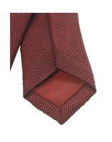 Krawat super slim Olymp – czerwony z tkanym wzorem