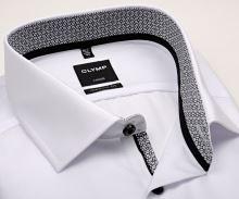 Koszula Olymp Luxor Modern Fit – biała z czarno-bialą wewnętrzną stójką - krótki rękaw
