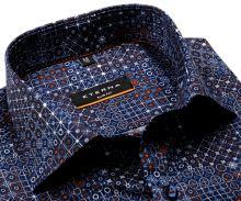 Koszula Eterna Slim Fit Twill - designerska niebieska z pomarańczowo-białym wzorem