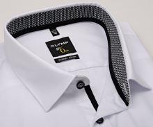 Koszula Olymp Super Slim – biała z szaro-czarną wewnętrzną stójką i mankietem