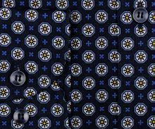 Koszula Marvelis Modern Fit - ciemnoniebieska z biało-żółtymi ornamentami - extra długi rękaw