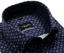 Koszula Venti Modern Fit – niebiesko-fioletowa z ornamentami i podwójnym kołnierzem - super długi rękaw