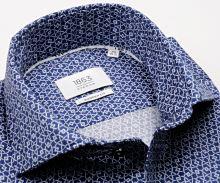 Koszula Eterna Modern Fit 1863 Super Soft - luksusowa ciemnoniebieska z białym wzorem