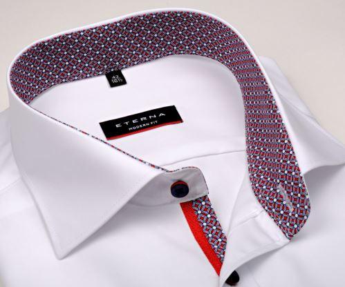 Slim koszula Eternabiała z wewnętrzną stójką - extra długi rękaw 204d88749e