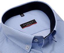 Koszula Eterna Modern Fit Twill – w jasnoniebieską kratkę,  z wewnętrzną wewnętrzną stójką