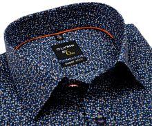 Koszula Olymp Super Slim - designerska ciemnoniebieska w drobne kolorowe kwiaty - extra długi rękaw
