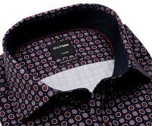 Koszula Olymp Modern Fit – ciemnoniebieska z ochrowo-białymi kołami