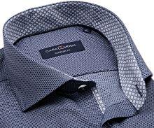 Koszula Casa Moda Comfort Fit – granatowa z tkanym wzorem i srebrnymi kropeczkami - super długi rękaw