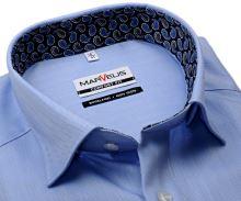 Koszula Marvelis Comfort Fit – jasnoniebieska w jodełkę z wewnętrzną stójką i mankietem