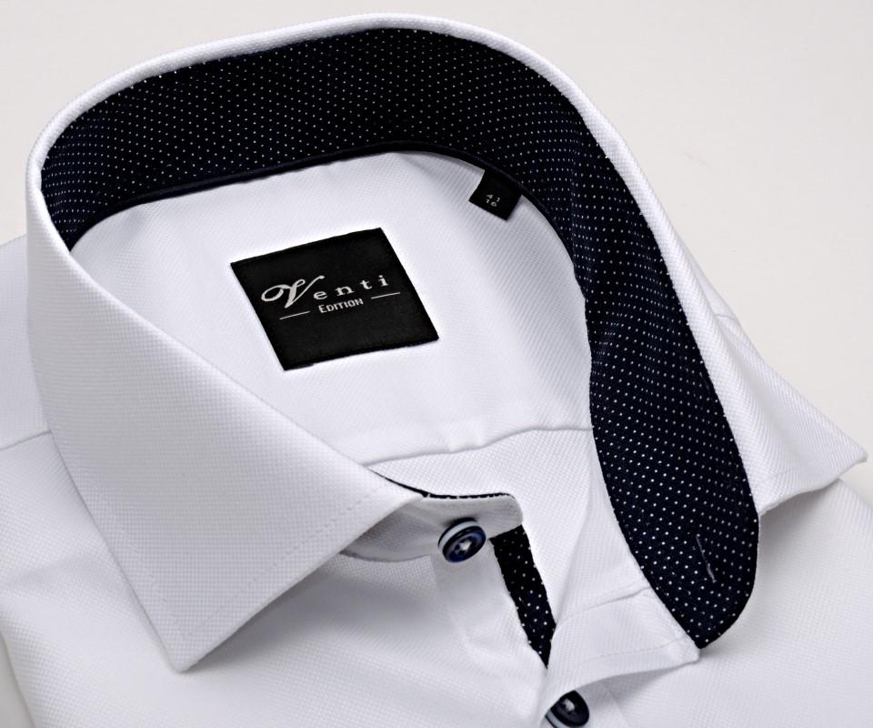4e9776037f36 Koszula Venti Slim Fit – biała strukturyzowana z ciemnoniebieską stójką  wewnętrzną – super długi rękaw
