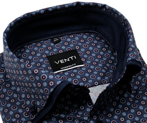 Koszula Venti Modern Fit – niebieska w bordowe i białe ornamenty z podwójnym kołnierzem