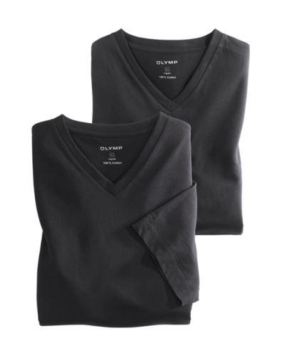 Podkoszulek z bawełny Olymp w kolorze czarnym - krótki rękaw - dekolt typu V (2 szt.)