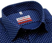 Koszula Marvelis Modern Fit - ciemnoniebieska koszula w białe kółka - krótki rękaw