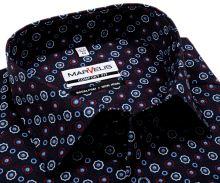Koszula Marvelis Comfort Fit - ciemnoniebieska z trójkolorowymi ornamentami