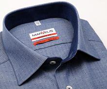 Marvelis Modern Fit – niebieska koszula w jodełkę z wyszytym wzorom i wewnętrzną stójką - extra długi rękaw