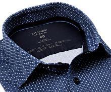 Koszula Olymp Modern Fit 24/Seven – luksusowa elastyczna ciemnoniebieska z drobnym wzorem