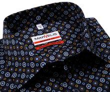 Koszula Marvelis Modern Fit - ciemnoniebieska z kolorowymi ornamentami - extra długi rękaw