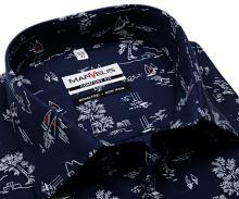 Koszula Marvelis Comfort Fit - granatowa z letnimi motywami - krótki rękaw