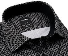 Koszula Olymp Modern Fit – czarna z szaro-białym wzorem i czarną wewnętrzną stójką i mankietem