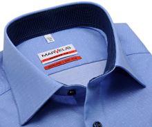 Koszula Marvelis Modern Fit – niebieska w białą siateczkę - krótki rękaw