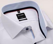 Koszula Olymp Luxor Modern Fit – biała z jasnoniebieską wewnętrzną stójką - krótki rękaw