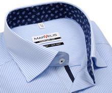 Koszula Marvelis Comfort Fit – w jasnoniebieskie prążki z niebieską wewnętrzną stójką i mankietem
